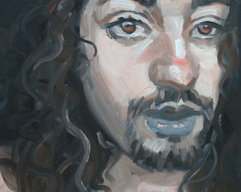 Non-Binary Jesus, oil on gallery stretched canvas 11x14 inches by KennEy Mencher