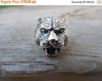 ON SALE Tiger ring in sterling silver 925