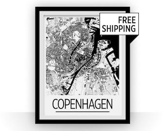 Copenhagen Map Poster - denmark Map Print - Art Deco Series