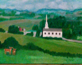 Country Church with Deer