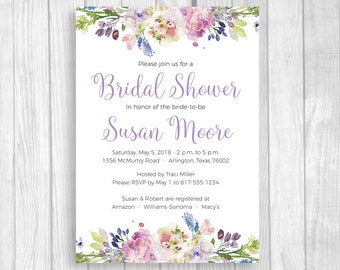 Watercolor Floral 4x6 or 5x7 Custom Printable Bridal Shower Invitations - Purple and Lavender Watercolor Flowers - You Print