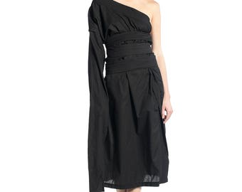 New Collection Black Dress, Fabulous Asymmetrical Dress, Over Sized Dress, Asymmetrical Black Dress, Maxi Black Blouse, Deconstructed Top