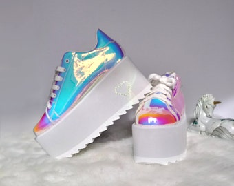 HOLO PLATFORM SNEAKERS - Size 7 platform shoes, holographic shoes, clubbing, club and festival gear, fashion