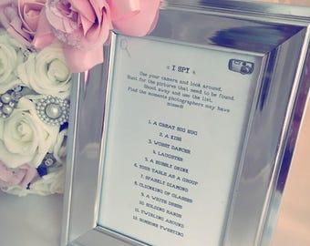 I Spy wedding game framed print