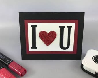 Happy Valentines's Day Card - Hand Stamped Card - Valentine's Day Card - Bloomin' Heart Card - Handmade Card - My Valentine Card - Love You
