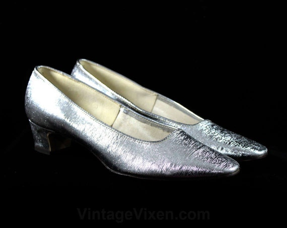 Sparkling 60's Shoes Metallic 60s Deadstock Heels Pumps Evening Texture 1960s 48222 Formal Fine Silver 6M Size 6 Metallic UqtWxRw5X6