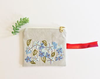 Hand Embroidered Zip Pouch - Plumbago