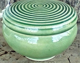 Carved Circular Spring Green Lidded  Ceramic Jewelry Box