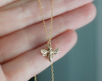 Golden Bee Necklace / Tiny Italian Bronze Bumble Bee Pendant on a 14k Gold Filled Chain ... detailed realistic chubby honey bee necklace