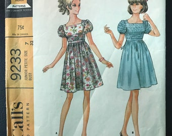 Uncut McCall's 1960's Pattern # 9233 - Mini Empire Waist Baby Doll Dress - Junior Petite Size 7, Bust 32