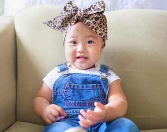 Leopard head wrap, Leopard Print head wrap, fabric head wrap, newborn headband, baby headband, toddler headband, baby head wrap