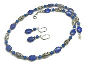 Denim Lapis Necklace, Blue Stone Necklace, Denim Lapis Jewelry, Blue Jewelry Set, Blue Beaded Necklace, Stone Bead Necklace, Necklace Set
