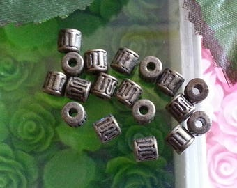 50 Tibetan style beads, pearls, alloy, lead and cadmium-free, bronze antique, tubbish, 5.5 mm long.