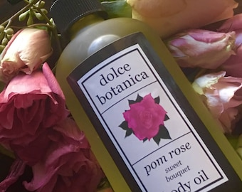 Rose Body Oil, Grapefruit, Massage Oil, Almond, Argan, Jojoba, Natural Skincare, Healthy Glow, Absorbs Quickly, Gift for Her