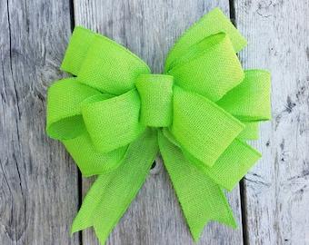 lime green burlap bow, wreath bow, big green bow, wedding bow, big bow, big wreath bow, large burlap lime green bow, large lime green bow