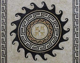 "50""x50"" Waves Spiral Greek Frame Wall Art Marble Mosaic GEO2572"