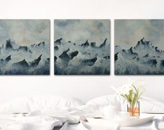 Canvas or Wood Print - Backyard Mountain Range Print Panorama Set 12x12  16x16  20x20  24x24, Unframed