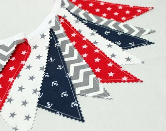 Bunting, Fabric Garland, FLags,Nautical Baby Shower, Fabric Banner,Nursery decor, Navy, Grey, Red, White, Nursery bunting, Kids Room