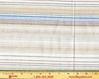 Remnant, Cotton poly blend, Stripe soft shades of blue and tan, off white background shirting, yarn dyed texture, homespun