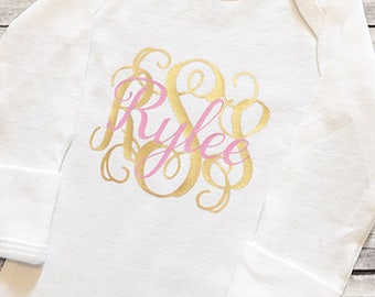 Monogram and Name Personalized Infant bodysuit | baby girl | baby shower gift | coming home outfit | custom | customized | hospital