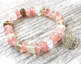 Cherry quartz bracelet - Tree of life bracelet - Healing Crystal Bracelet - Stack Bracelet - Yoga Bracelet - Yoga Jewelry - Energy