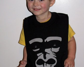 Ape for Bananas -- Upcycled Baby/Toddler Gorilla Bib, Large, Full, Reversible, Black, Gray, Sesame Street, Alphabet, OOAK