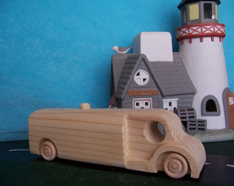 Toy Tanker Truck Handcrafted from Reclaimed Wood for Your Child's Toy Box