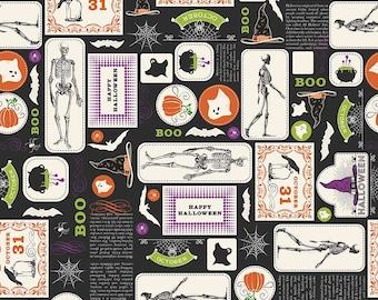 Eek Boo Shriek Main Black - Riley Blake Designs - Halloween Skeleton - Quilting Cotton Fabric - choose your cut
