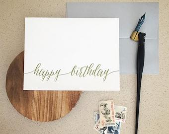 Happy Birthday Modern Calligraphy Letterpress Card