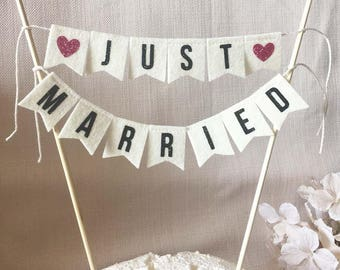 Bridal Shower Cake Banner - Just Married - Felt cake topper - Wedding Cake Banner
