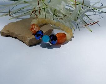 Jade Bracelet Beaded Jade Bracelet Yellow Jade Bracelet Boho Bracelet Jade and Agate Beaded Bracelet Gift for Her