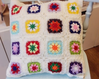 Gorgeous traditional style hand crocheted granny squares cushion