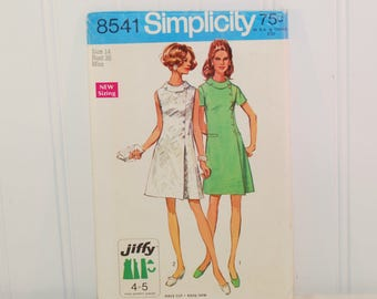 Vintage Simplicity 8541 Jiffy Dress (c. 1969) Misses' And Women's Size 14, Bust Size 36 Inches, Summer Dress, Retro Style, Easy Sewing