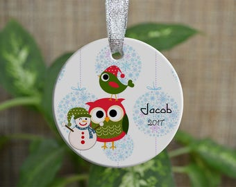 Personalized Christmas Ornament, Baby First Christmas ornament, Custom Ornament, Newborn baby gift, Owl ornament, Boy, Christmas gift. o051