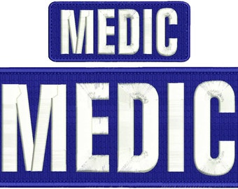 MEDIC Embroidery Patch 10x4 and 5x2 inches Hook backing navy with white letters