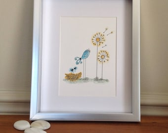Original bird watercolor/bird illustration/decoration bird child bedroom