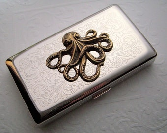Big Octopus Cigarette Case Large Vintage Inspired Long 120's Size Gothic Victorian Nautical Steampunk Style Mixed Metals Silver & Brass