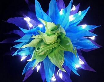 Blue, Purple, Green, Soft Spikey LED Fairy Glow Hair Flower Clip