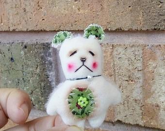 Handmade Mini Teddy Bear Kawaii Softie Plush by Woollybuttbears - perfect pet for Blythe doll