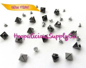 "6mm ""Tall & Narrow"" Pyramid Morsel Metal Screw Back Studs. DIY Clothing, Shoes,etc. Fast Shipping from USA w/ Tracking 4 Domestic Orders."