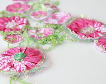 Pink and green bib necklace beaded textile floral embroidery