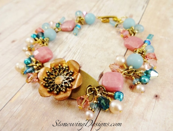 Rustic Boho Mixed Metal Riveted Flower, Rhodonite, Amazonite, Apatite, Pearl and Crystal Bracelet