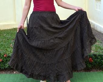 Maxi Skirt * Elastic Waist * Long Skirts For Women * Hippie Skirt * Bohemian Skirt * Boho Skirt * Tiered Skirt * Pleated Skirt * SB-choco