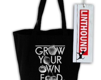 Grow Your Own Food Black Canvas Tote Bag