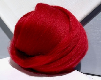 Rust Red Merino Roving, Needle Felting Spinning Fiber, Brick Red, Merino wool, felting wool, red wool, red roving
