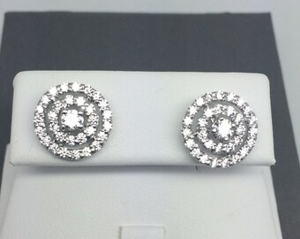 White Gold Rhodium Double Halo CZ Sterling Silver Stud Earrings