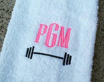 Monogrammed Barbell Sweat Towel, Monogrammed Gym Towel, Monogrammed Hand Towel