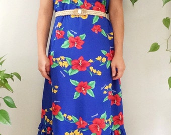 Vintage 1970s 70s Boho Maxi Dress/Hawaiian Floral Dress/Hibiscus Print Dress/Bohemian Floral Dress/Vintage Tropical Dress/Vintage MUMU