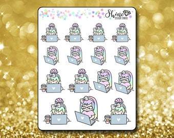 Luna Computer Work Stickers - Planner Stickers Erin Condren Life Planner Cute Emoji Work Time Character Girl Stickers  Happy Planner