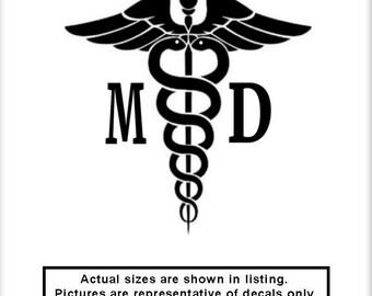 Caduceus MD v3 Vinyl Decal Doctor Nurse OR Hospital Medical